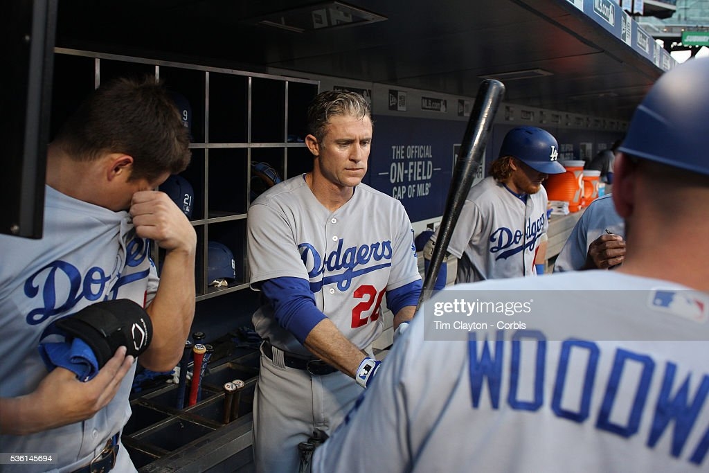 <a gi-track='captionPersonalityLinkClicked' href=/galleries/search?phrase=Chase+Utley&family=editorial&specificpeople=161391 ng-click='$event.stopPropagation()'>Chase Utley</a> #26 of the Los Angeles Dodgers preparing to bat in the dugout during the Los Angeles Dodgers Vs New York Mets regular season MLB game at Citi Field on May 28, 2016 in New York City.