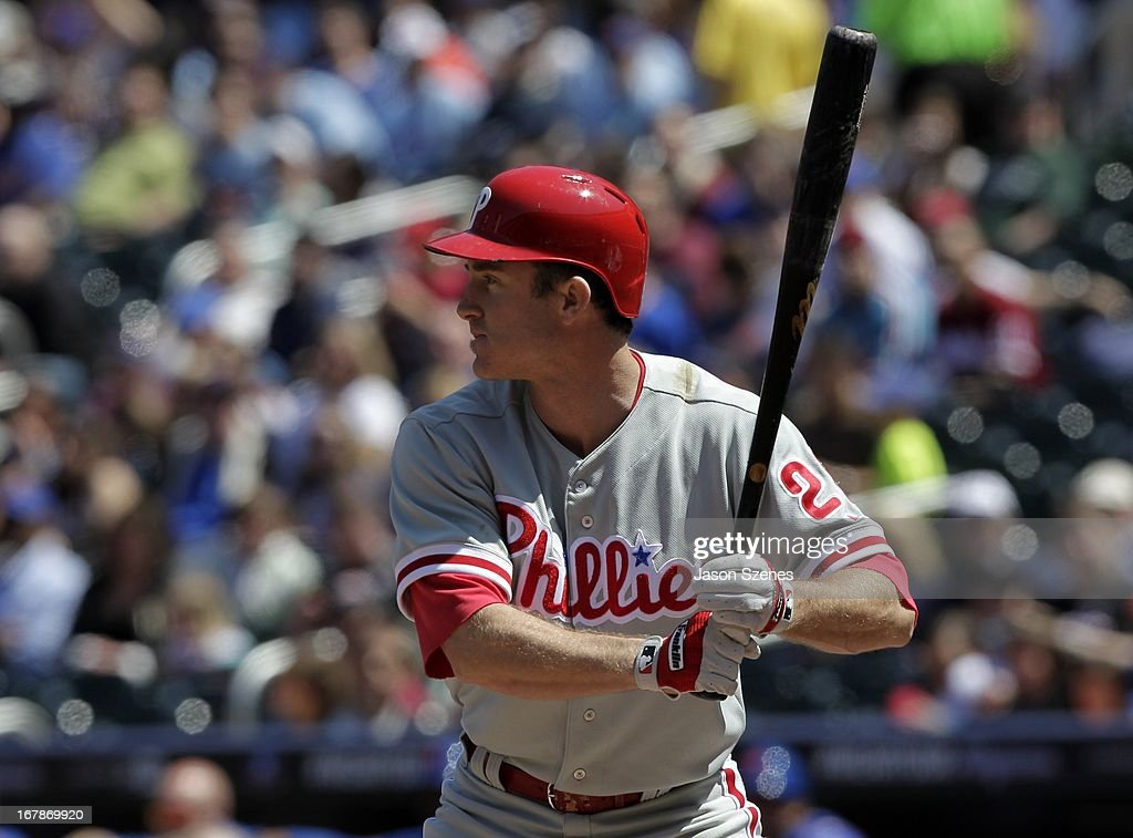 Chase Utley #26 of the Philadelphia Phillies at bat in the first inning against the New York Mets at Citi Field on April 27, 2013 in the Flushing neighborhood of the Queens borough of New York City. (Photo by Jason Szenes/Getty Images