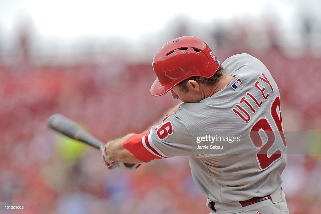 <a gi-track='captionPersonalityLinkClicked' href=/galleries/search?phrase=Chase+Utley&family=editorial&specificpeople=161391 ng-click='$event.stopPropagation()'>Chase Utley</a> #26 of the Philadelphia Phillies bats against the Cincinnati Reds at Great American Ball Park on September 3, 2012 in Cincinnati, Ohio.