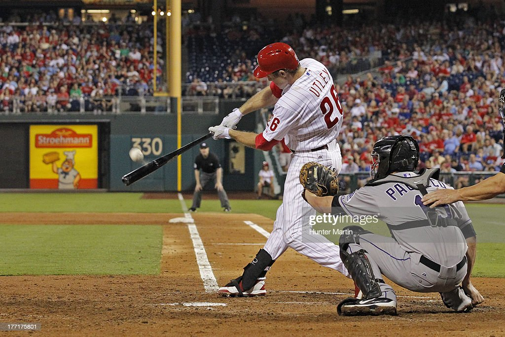 <a gi-track='captionPersonalityLinkClicked' href=/galleries/search?phrase=Chase+Utley&family=editorial&specificpeople=161391 ng-click='$event.stopPropagation()'>Chase Utley</a> #26 of the Philadelphia Phillies bats during a game against the Colorado Rockies at Citizens Bank Park on August 21, 2013 in Philadelphia, Pennsylvania.