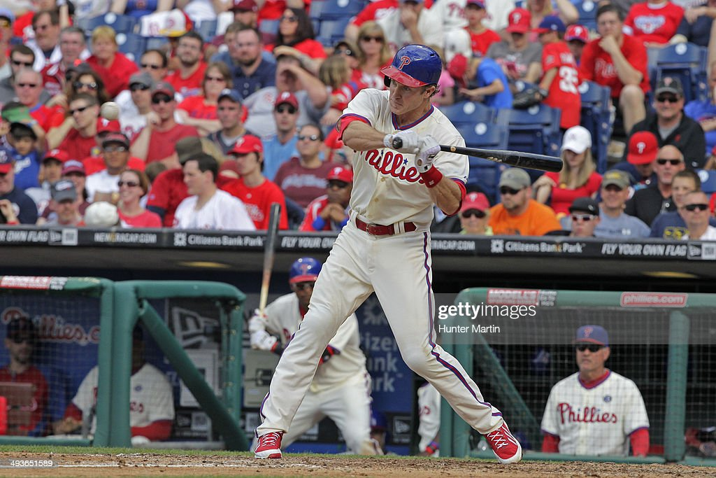 <a gi-track='captionPersonalityLinkClicked' href=/galleries/search?phrase=Chase+Utley&family=editorial&specificpeople=161391 ng-click='$event.stopPropagation()'>Chase Utley</a> #26 of the Philadelphia Phillies bats during a game against the Los Angeles Dodgers at Citizens Bank Park on May 24, 2014 in Philadelphia, Pennsylvania. The Phillies won 5-3.