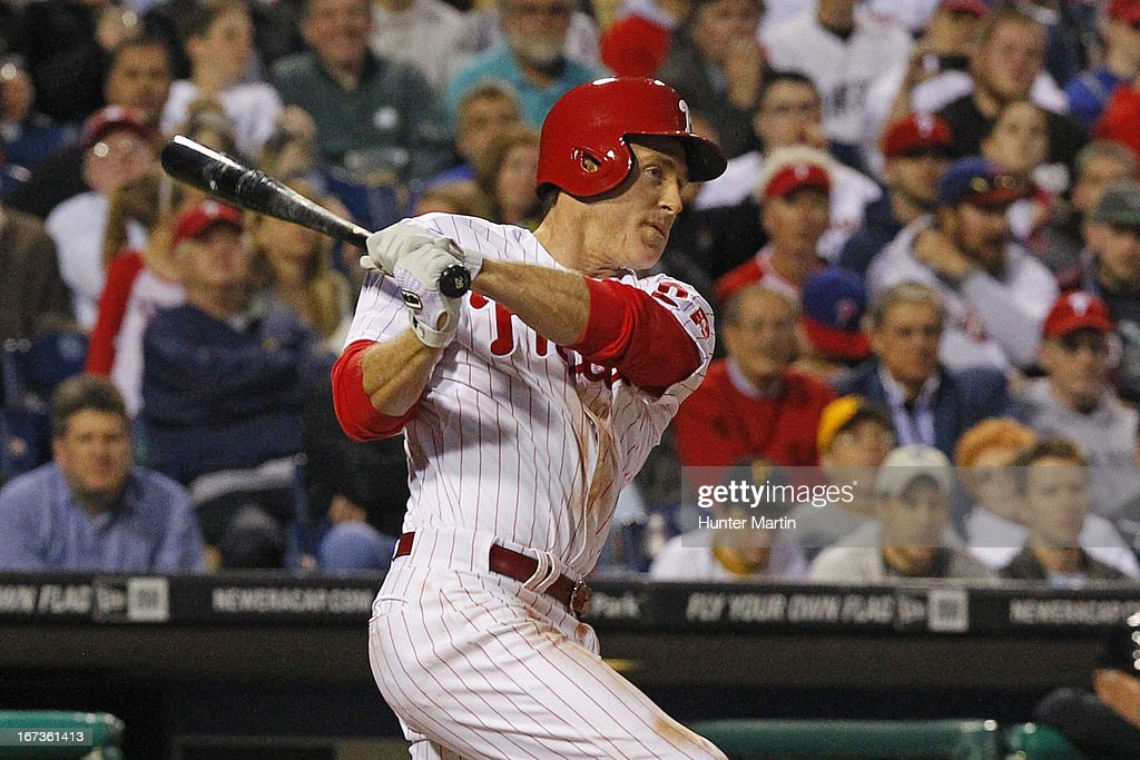 <a gi-track='captionPersonalityLinkClicked' href=/galleries/search?phrase=Chase+Utley&family=editorial&specificpeople=161391 ng-click='$event.stopPropagation()'>Chase Utley</a> #26 of the Philadelphia Phillies bats in the third inning during a game against the Pittsburgh Pirates at Citizens Bank Park on April 24, 2013 in Philadelphia, Pennsylvania.