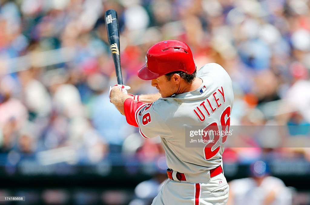 <a gi-track='captionPersonalityLinkClicked' href=/galleries/search?phrase=Chase+Utley&family=editorial&specificpeople=161391 ng-click='$event.stopPropagation()'>Chase Utley</a> #26 of the Philadelphia Phillies follows through on a fourth inning base hit against the New York Mets at Citi Field on July 21, 2013 in the Flushing neighborhood of the Queens borough of New York City.