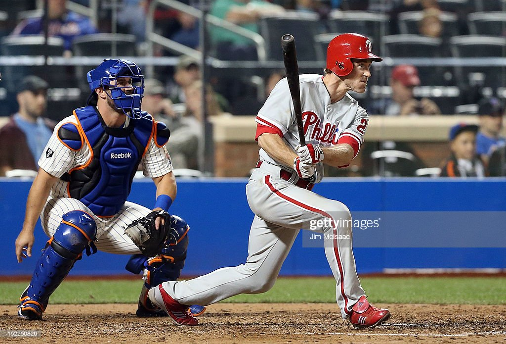 <a gi-track='captionPersonalityLinkClicked' href=/galleries/search?phrase=Chase+Utley&family=editorial&specificpeople=161391 ng-click='$event.stopPropagation()'>Chase Utley</a> #26 of the Philadelphia Phillies follows through on his eighth inning base hit against the New York Mets at Citi Field on September 17, 2012 in the Flushing neighborhood of the Queens borough of New York City.
