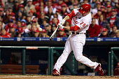 Chase Utley of the Philadelphia Phillies hits a 3run home run in the bottom of the first inning against the New York Yankees in Game Five of the 2009...