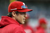 Chase Utley of the Philadelphia Phillies looks on during batting practice against the New York Yankees in Game Two of the 2009 MLB World Series at...