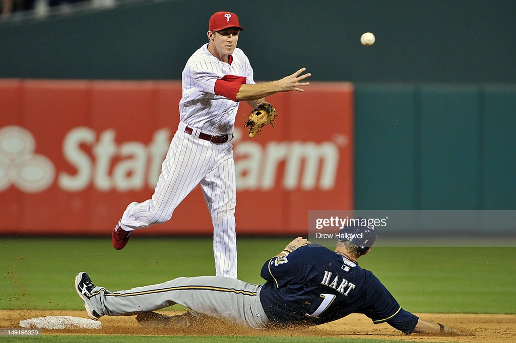 <a gi-track='captionPersonalityLinkClicked' href=/galleries/search?phrase=Chase+Utley&family=editorial&specificpeople=161391 ng-click='$event.stopPropagation()'>Chase Utley</a> #26 of the Philadelphia Phillies puts out Corey Hart #1 of the Milwaukee Brewers while turning a double play at Citizens Bank Park on July 24, 2012 in Philadelphia, Pennsylvania. The Phillies won 7-6.