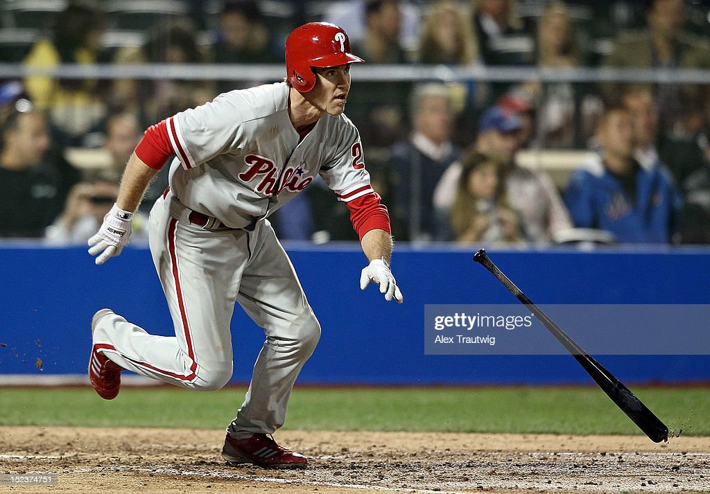 <a gi-track='captionPersonalityLinkClicked' href=/galleries/search?phrase=Chase+Utley&family=editorial&specificpeople=161391 ng-click='$event.stopPropagation()'>Chase Utley</a> #26 of the Philadelphia Phillies runs to first base after a hit against the New York Mets at Citi Field on September 19, 2012 in the Flushing neighborhood of the Queens borough of New York City.