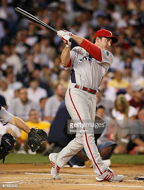 Chase Utley of the Philadelphia Phillies swings during the 2008 MLB AllStar State Farm Home Run Derby at Yankee Stadium on July 14 2008 in the Bronx...