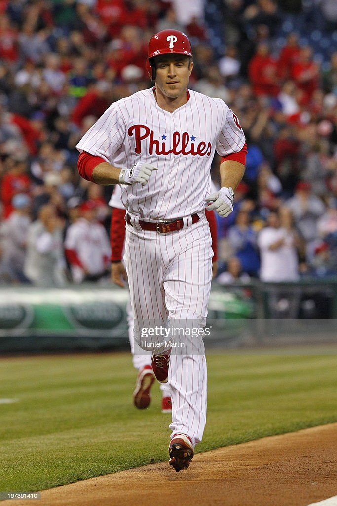 Chase Utley #26 of the Philadelphia Phillies trots home after hitting a home run in the first inning during a game against the Pittsburgh Pirates at Citizens Bank Park on April 24, 2013 in Philadelphia, Pennsylvania.