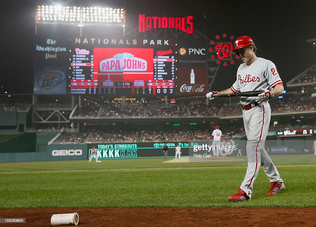 <a gi-track='captionPersonalityLinkClicked' href=/galleries/search?phrase=Chase+Utley&family=editorial&specificpeople=161391 ng-click='$event.stopPropagation()'>Chase Utley</a> #26 of the Philadelphia Phillies walks back to the dugout after striking out swinging for the second out of the seventh inning against the Washington Nationals at Nationals Park on October 2, 2012 in Washington, DC.