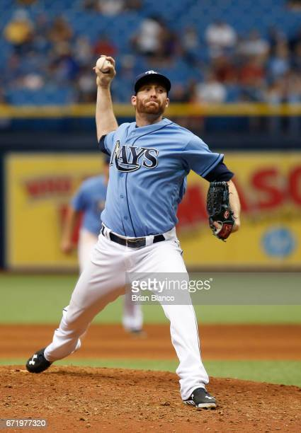 Chase Whitley of the Tampa Bay Rays pitches during the seventh inning of a game against the Houston Astros on April 23 2017 at Tropicana Field in St...