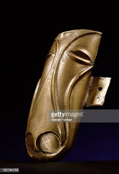 Chased bronze fitting representing a horses head From a war chariot Britain Celtic 1st C AD Found at Stanwick Yorkshire