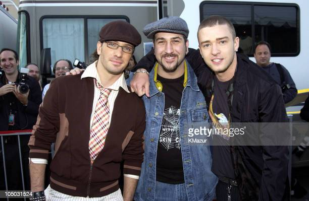 JC Chasez Joey Fatone and Justin Timberlake during The 30th Annual American Music Awards Arrivals at Shrine Auditorium in Los Angeles California...
