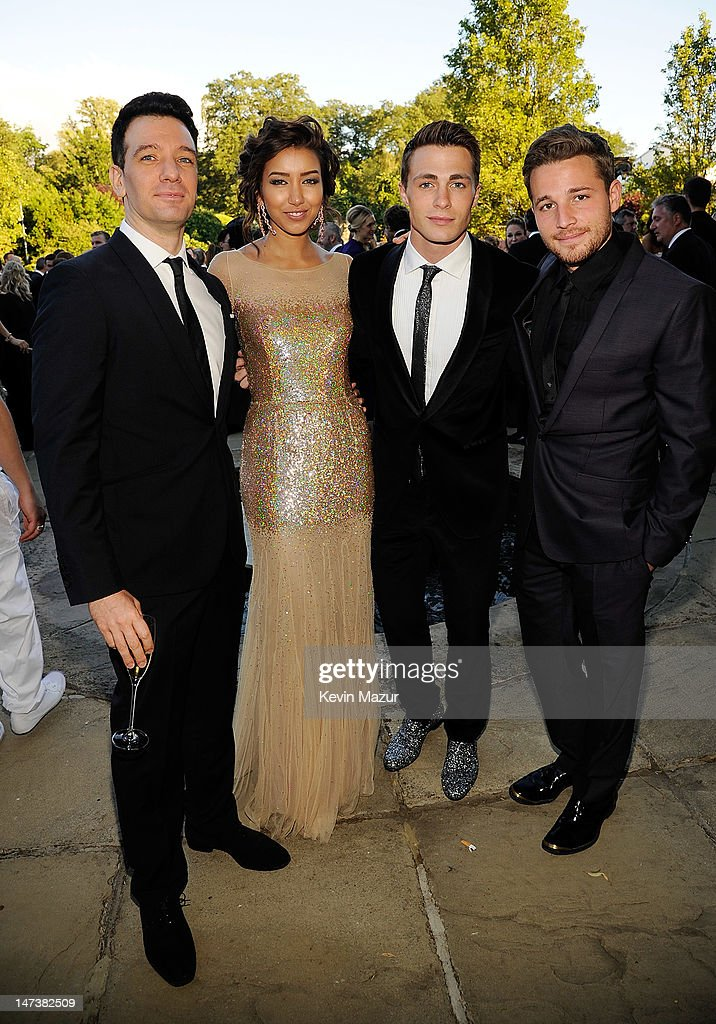 (L-R) JC Chasez, Renee Puentes, <a gi-track='captionPersonalityLinkClicked' href=/galleries/search?phrase=Colton+Haynes&family=editorial&specificpeople=4282136 ng-click='$event.stopPropagation()'>Colton Haynes</a> and <a gi-track='captionPersonalityLinkClicked' href=/galleries/search?phrase=Shawn+Pyfrom&family=editorial&specificpeople=229034 ng-click='$event.stopPropagation()'>Shawn Pyfrom</a> arrive at The 14th Annual White Tie and Tiara Ball to Benefit Elton John AIDS Foundation in Association with Chopard at Woodside on June 28, 2012 in Windsor, England. NO UK SALES BEFORE 17TH JULY 2012. NO HELLO, NOW, CLOSER, REVEAL, HEAT, LOOK OR GRAZIA SALES IN THE UK EVER. NO ITALY SALES BEFORE 4TH JULY 2012, NO SPAIN SALES BEFORE 7TH JULY 2012, NO MEXICO SALES BEFORE 1ST AUGUST 2012. All pictures are for editorial use only and mention of 'Chopard' and 'The Elton John Aids Foundation' are compulsory. No sales ever to any jewellers other than Chopard