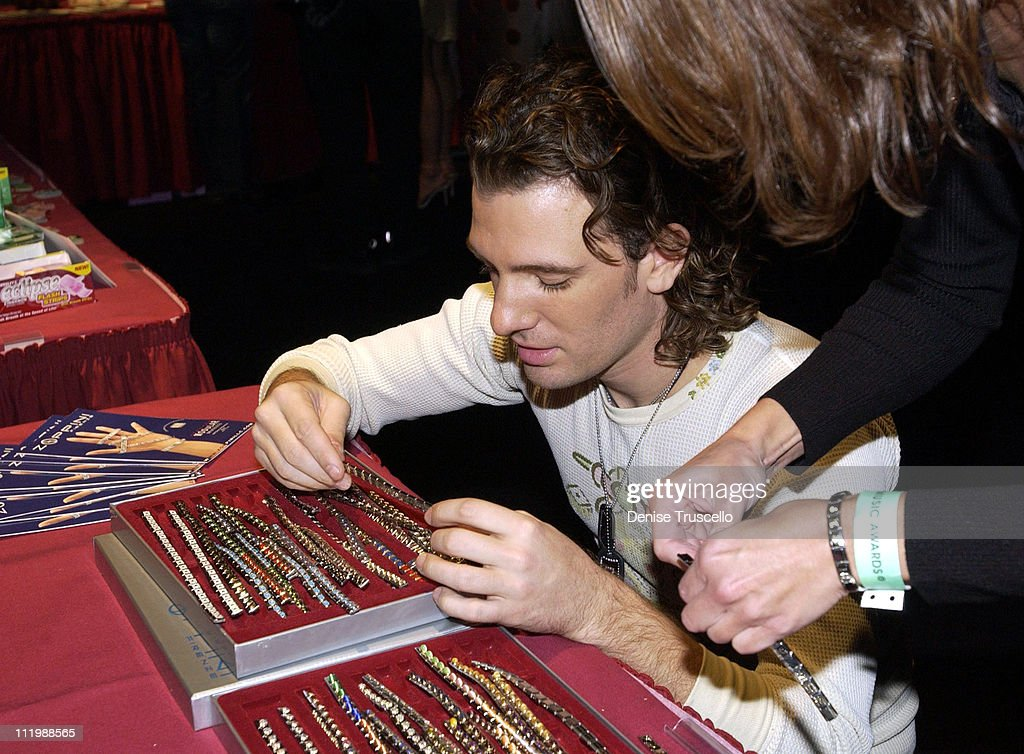 JC Chasez with Zoppini bracelets during 2002 Billboard Music Awards - Backstage Creations Talent Retreat - Show Day at MGM Grand Hotel in Las Vegas, Nevada, United States.