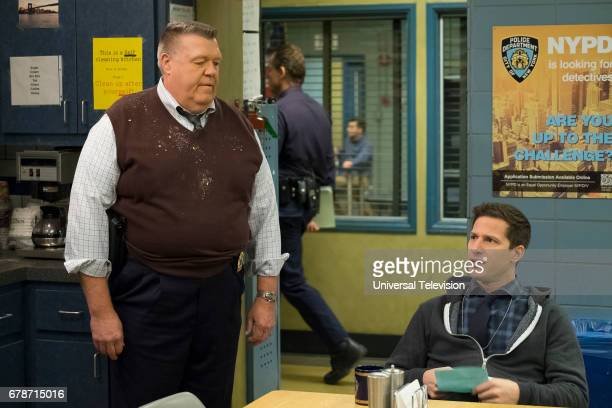 NINE 'Chasing Amy' Episode 417 Pictured Joel McKinnon Miller as Scully Andy Samberg as Jake Peralta