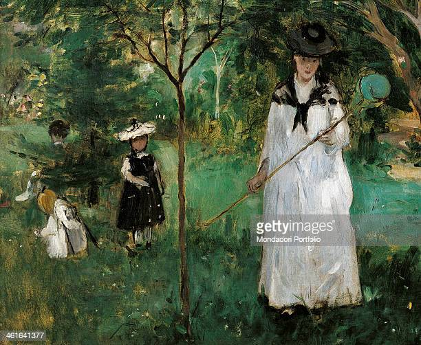 Chasing Butterflies by Berthe Morisot 19th Century oil on canvas France Paris Musée d'Orsay Detail A woman and some children are chasing butterflies...