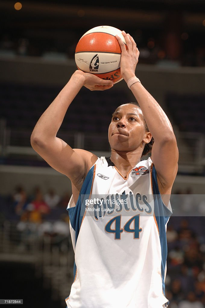 Chasity Melvin #44 of the Washington Mystics prepares to shoot a free throw during a game against the Seattle Storm at MCI Center on July 23, 2006 in Washington, D.C. The Storm won 73-71.