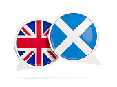 Chat bubbles of UK and Scotland isolated on white. 3D illustration