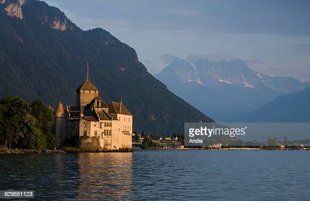 Chateau de Chillon castle on the banks of Lake Geneva at Veytaux in the canton of Vaud Switzerland