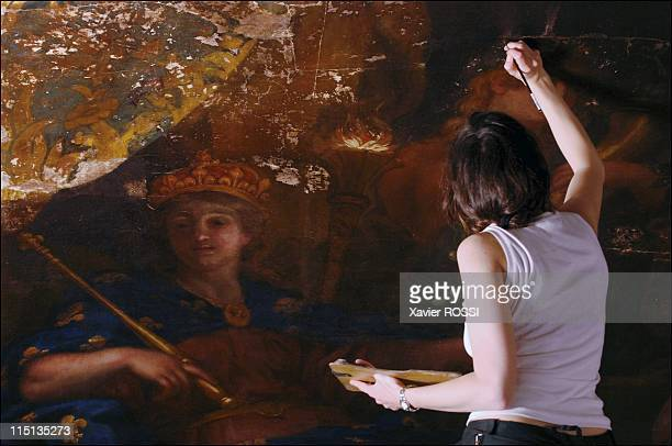 Chateau de Versailles restoring the famed Galerie des Glaces in Versailles France on May 30 2005 Phase of pictural reintegration In places where...