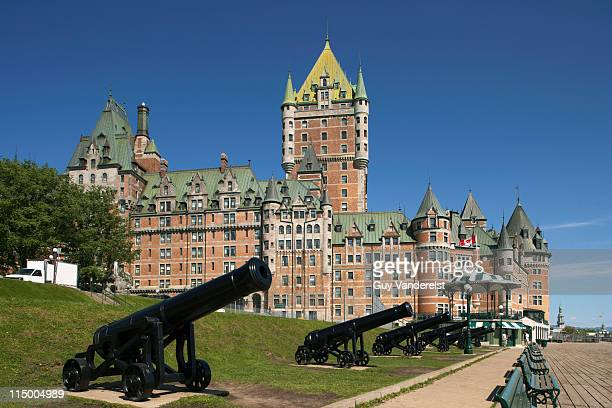 Chateau Frontenac with canons in foreground.
