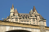 Chateau Laurier Ottawa on blue sky background. Summer day.