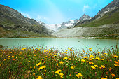 Chateaupre Lake at the Moiry Glacier in Switzerland