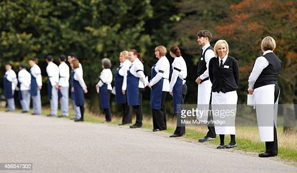 Chatsworth House staff line the route from Chatswoth House to St Peter's Church Edensor in preparation for the funeral of Deborah Dowager Duchess of...