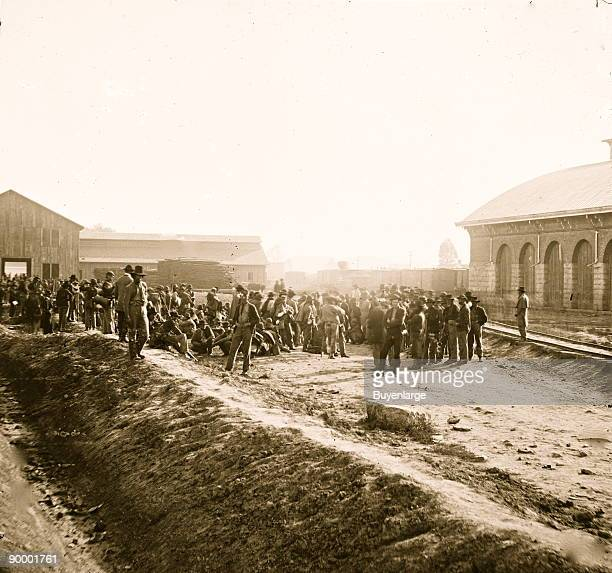 Chattanooga Tenn Confederate prisoners at railroad depot