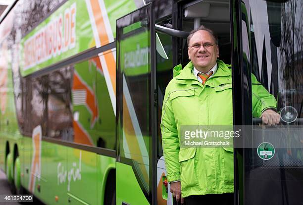 A Chauffeur stands in a coach of german coach company Flixbus Mein Fernbus on January 09 2015 in Berlin Germany The coach company announced its...