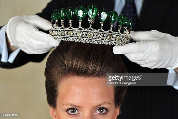 Chaumet emerald and diamond tiara from circa 1900 the most important to be auctioned in 30 years formerly in the collection of Princess Katharina...