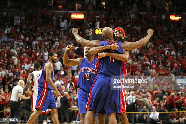 Chauncey Billups and Richard Hamilton of the Detroit Pistons celebrate after the game in Game seven of the Eastern Conference Finals during the 2005...