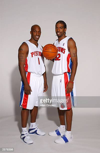 Chauncey Billups and Richard Hamilton of the Detroit Pistons during NBA Media Day on October 2 2003 in Auburn Hills Michigan NOTE TO USER User...