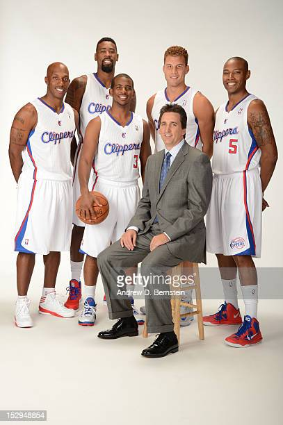 Chauncey Billups DeAndre Jordan Chris Paul Blake Griffin Head Coach Vinny Del Negro and Caron Butler of the Los Angeles Clippers poses for a portrait...