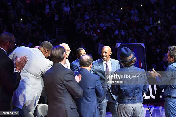 Chauncey Billups former Detroit Pistons player jersey is retired by the Detroit Pistons during the game against the Denver Nuggets on February 10...