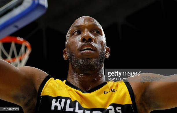 Chauncey Billups of athe Killer 3s reacts during the game against 3's Company during week seven of the BIG3 three on three basketball league at Rupp...