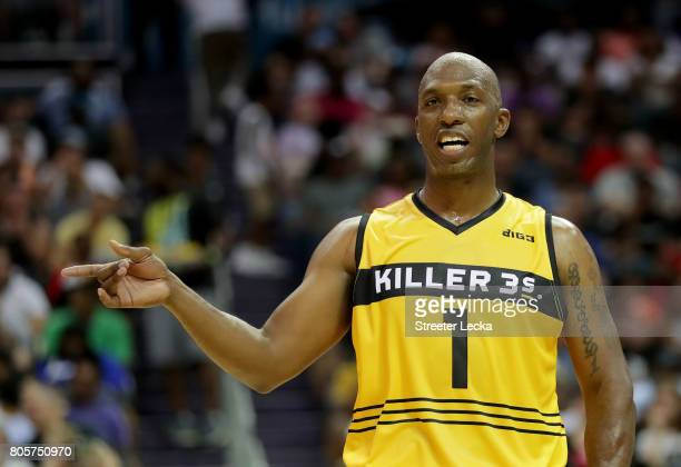 Chauncey Billups of Killer 3s reacts during week two of the BIG3 three on three basketball league at Spectrum Center on July 2 2017 in Charlotte...