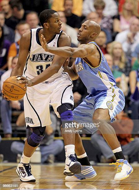 Chauncey Billups of the Denver Nuggets puts defensive pressure on CJ Miles of the Utah Jazz during Game Four of the Western Conference Quarterfinals...