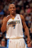 Chauncey Billups of the Denver Nuggets reacts as he faces the New Orleans Hornets in Game Five of the Western Conference Quarterfinals during the...