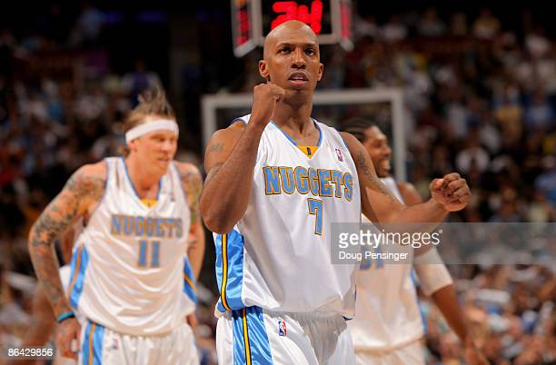 Chauncey Billups of the Denver Nuggets reacts as the Nuggets take a 15point lead in the fourth quarter against the Dallas Mavericks in Game Two of...
