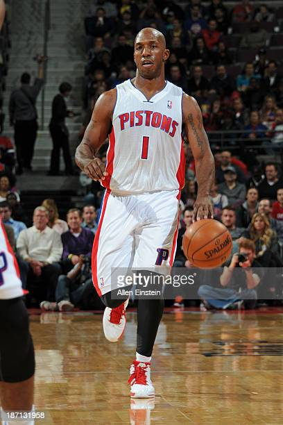 Chauncey Billups of the Detroit Pistons brings the ball up court against the Indiana Pacers on November 5 2013 at The Palace of Auburn Hills in...