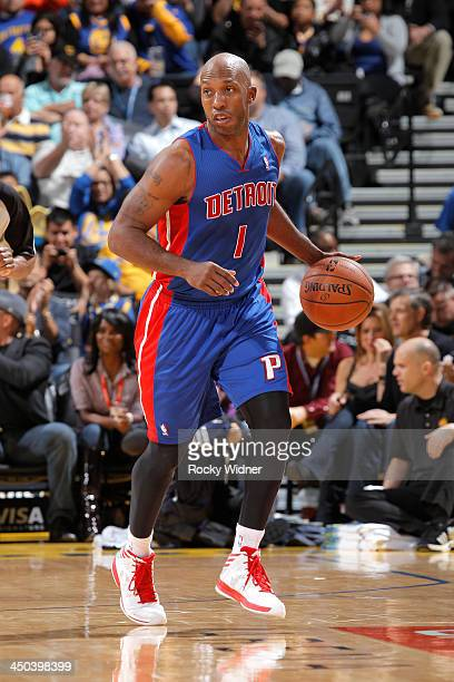 Chauncey Billups of the Detroit Pistons brings the ball up the court against the Golden State Warriors on November 12 2013 at Oracle Arena in Oakland...