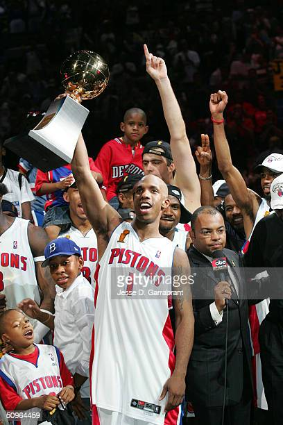 Chauncey Billups of the Detroit Pistons celebrates after winning the Championship as he is named MVP in Game five of the 2004 NBA Finals against the...