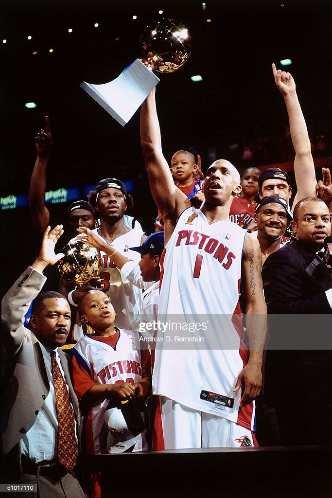 Chauncey Billups #1 of the Detroit Pistons celebrates the win over the Los Angeles Lakers after game five of the 2004 NBA Finals at The Palace of Auburn Hills on June 15, 2004 in Auburn Hills, Michigan.