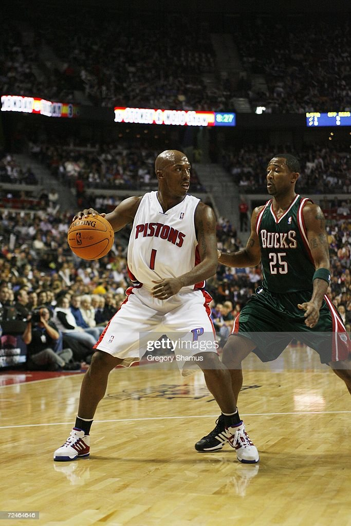 Chauncey Billups #1 of the Detroit Pistons dribbles against Maurice Williams #25 of the Milwaukee Bucks on November 1, 2006 at the Palace of Auburn Hills in Auburn Hills, Michigan. Milwaukee won the game 105-97.
