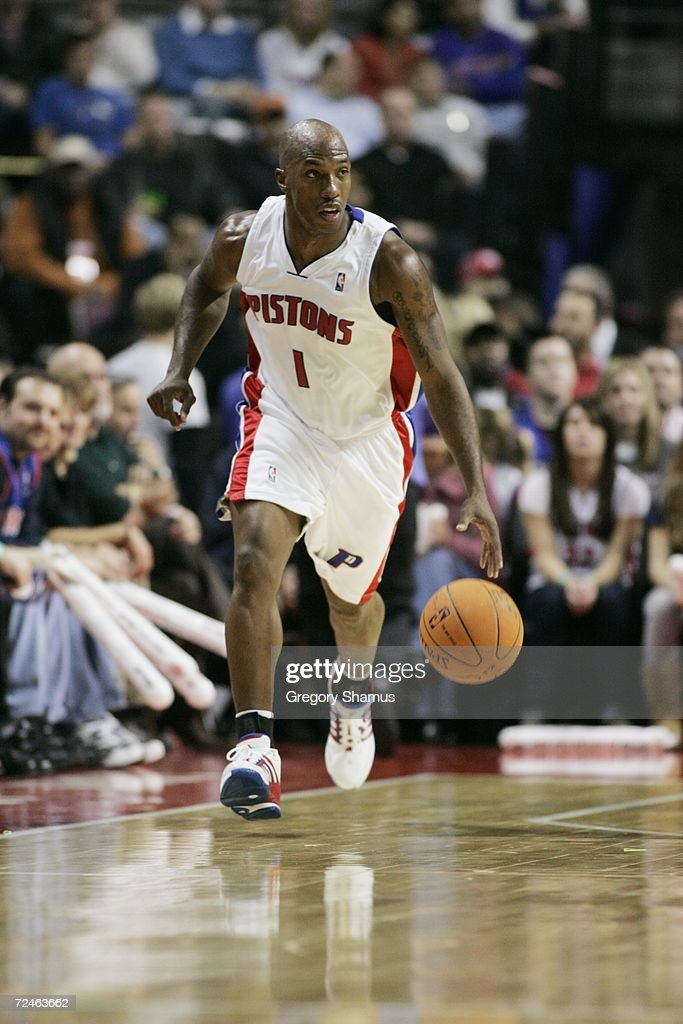 Chauncey Billups #1 of the Detroit Pistons dribbles against the Milwaukee Bucks on November 1, 2006 at the Palace of Auburn Hills in Auburn Hills, Michigan. Milwaukee won the game 105-97.
