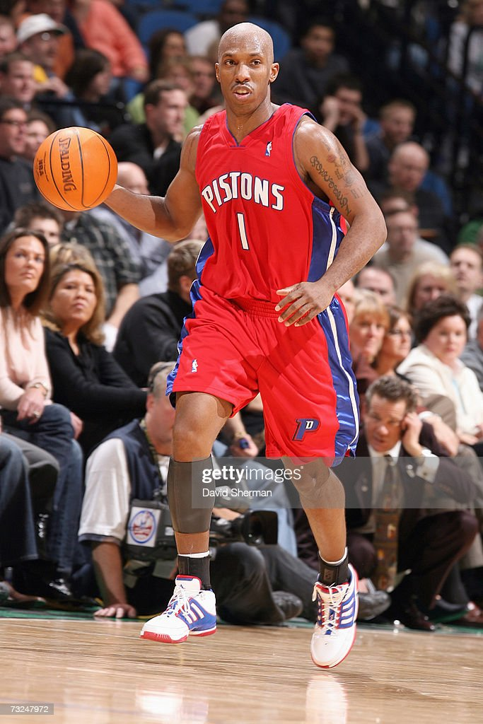 Chauncey Billups #1 of the Detroit Pistons dribbles against the Minnesota Timberwolves during the game at Target Center on January 19, 2007 in Minneapolis, Minnesota. The Pistons won 104-98.