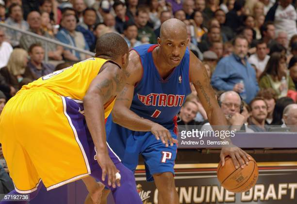 Chauncey Billups of the Detroit Pistons dribbles against the Los Angeles Lakers on March 4 2006 at Staples Center in Los Angeles California The...